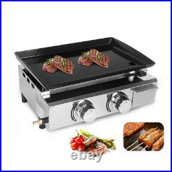 Outdoor Gas Plancha BBQ 2 Burners LPG Grill Steel CE Enameled cast iron 5000W